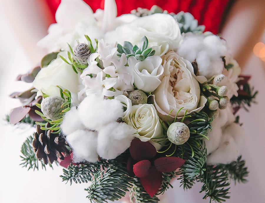 Bouquet natalizio stile Winter Wedding