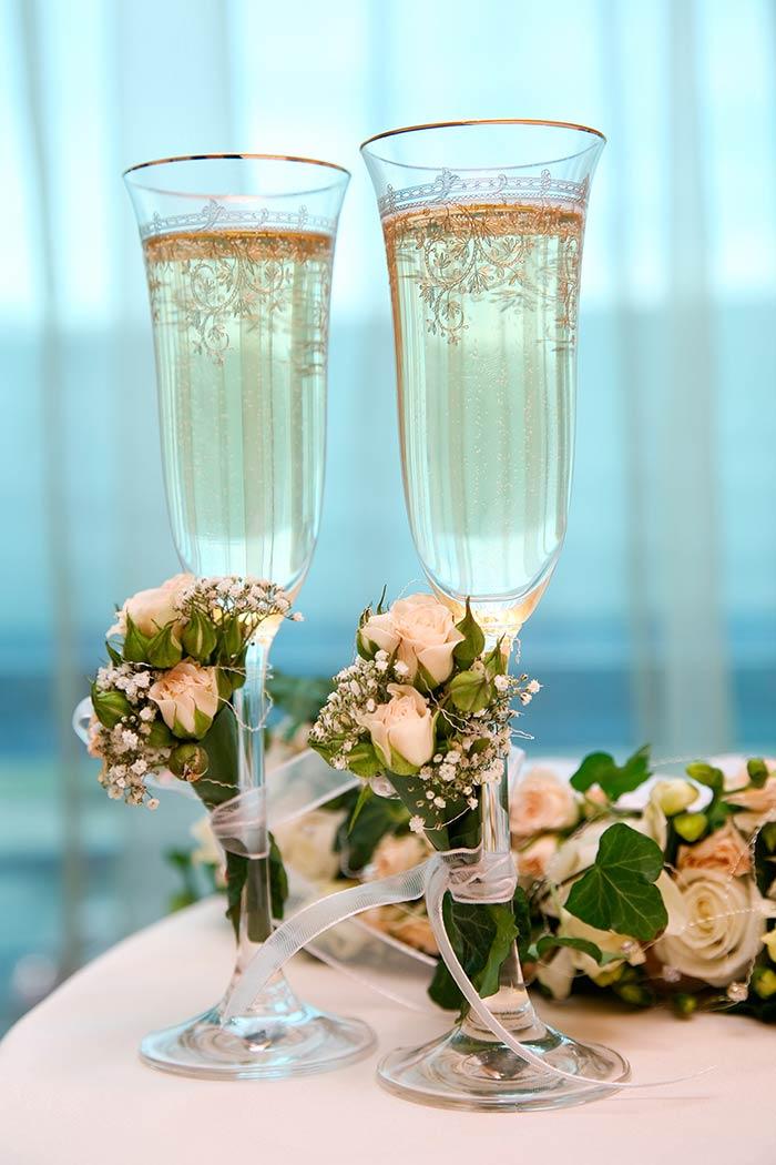 Addobbo floreale Champagne Flutes