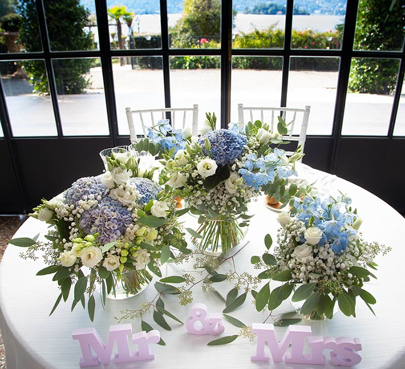 Tavolo sposi a Villa Rusconi, lago Maggiore