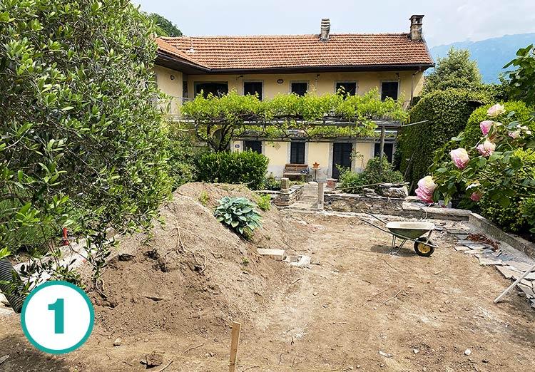 Realizzazione giardino all'italiana a Oira, fase 1