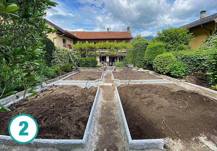 Realizzazione giardino all'italiana a Oira, fase 2