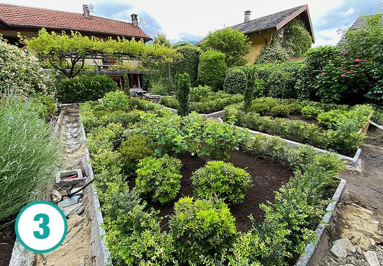 Realizzazione giardino all'italiana a Oira, fase 3