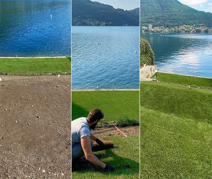 posa tappeto erboso: prima e dopo